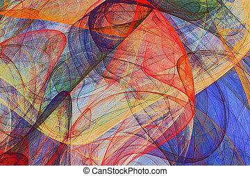抽象的な絵, 背景, の, カラフルである, なびくこと, ベール