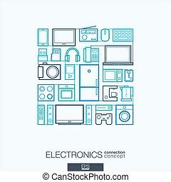 抽象的な近代的な意匠, 市場, スタイル, symbols., 店, 概念, マルチメディア, エレクトロニクス, 世帯, 平ら, 線である, イラスト, 接続される, icons., 背景, 線, インテグレイテド, ベクトル, 薄くなりなさい, 概念