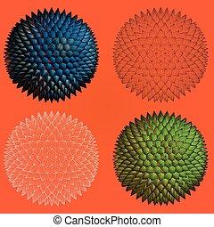 抽象的, とげとげである, 4, 形, 幾何学的, stye