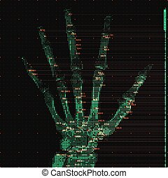 抽象的, やし, 人間, tomography, 視覚化, concept., 未来派, デジタル, hud, image., ui., 運転された, 手, データ, scan., illustration., 医学, 分析, ベクトル, 緑, mri, ヘルスケア, x 線, ソフトウェア