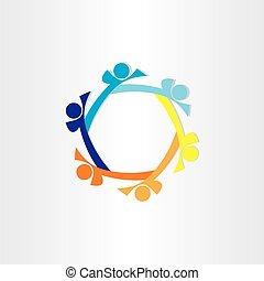 抽象的, アイコン, デザイン, 円, 人々