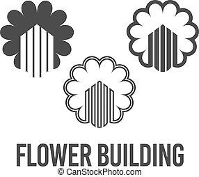 抽象的, アイコン, 建設, 黒, 建物, ロゴ, ベクトル, セット, イラスト, 色, 花