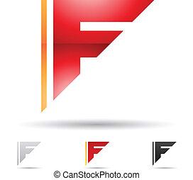 抽象的, アイコン, 手紙f