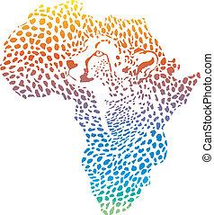 抽象的, アフリカ, 中に, a, チーター, camouf