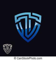 抽象的, イラスト, 手紙, 青, ベクトル, t, 基づかせている, シンボル, 色