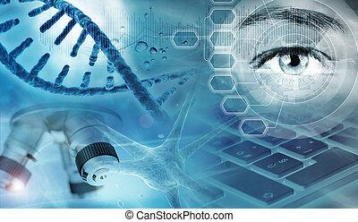 抽象的, イラスト, 研究, 遺伝, 背景, 3d