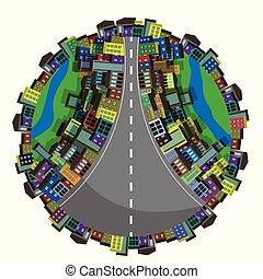 抽象的, イラスト, 都市, 地球