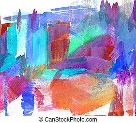 抽象的, オイル, painting., ぼんやりさせられた, stain., freehand, 図画