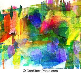 抽象的, オイル, painting., 塗りつけられる, spot., freehand, 図画