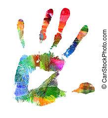 抽象的, オイル, painting., 手, print., 塗りつけられる, スポット