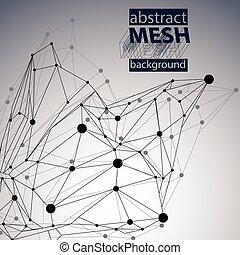 抽象的, オブジェクト, 黒い背景, ゆがめられた, 白, 3d