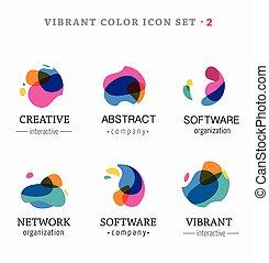 抽象的, カラフルである, アイコン, 活気に満ちた, セット, 最新流行である