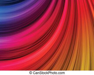 抽象的, カラフルである, 波, 上に, 黒い背景