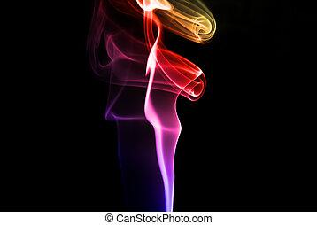 抽象的, カラフルである, 煙