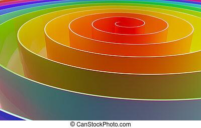 抽象的, カラフルである, 3d, らせん状に動きなさい, 横, バックグラウンド。