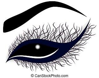 抽象的, カール, 女性の目, 長い間, まつげ