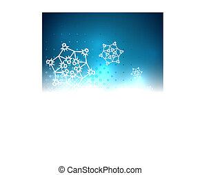 抽象的, クリスマス, 明るい, 背景, 光沢がある, 雪片