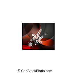 抽象的, クリスマス, 波, 雪片, 背景