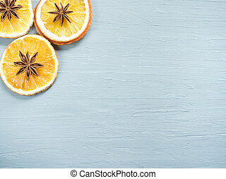 抽象的, クリスマス, 背景, ∥で∥, 柑橘系の果物, に薄く切る, の, オレンジ, そして, 星, anise., コピースペース
