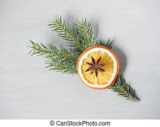 抽象的, クリスマス, 背景, ∥で∥, 柑橘系の果物, に薄く切る, の, オレンジ, そして, 星, anise.