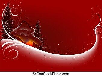 抽象的, クリスマス, 赤