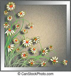 抽象的, グランジ, 色, 花, 背景
