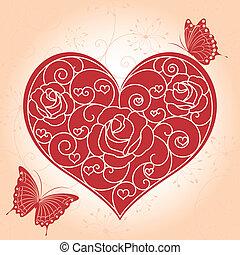 抽象的, グリーティングカード, バレンタイン