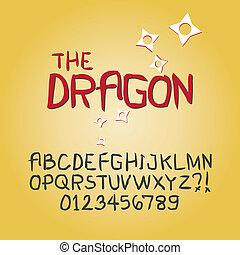 抽象的, シャープ, いたずら書き, アルファベット, そして, ディジット, ベクトル
