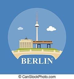 抽象的, スカイライン, の, 都市, ベルリン, ベクトル, イラスト, の, 様々, ランドマーク, 中に, ベルリン, germany.
