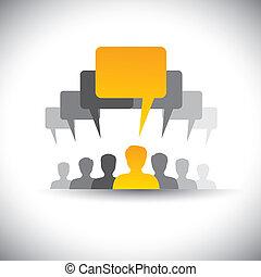 抽象的, スタッフ, ミーティング, アイコン, 媒体, -, コミュニケーション, また, 板, 従業員, ミーティング, graphic., 会社, 声, 学生, 人々, 表す, グラフィック, これ, &, リーダーシップ, 組合, リーダー, ∥など∥, ベクトル, 社会, ∥あるいは∥