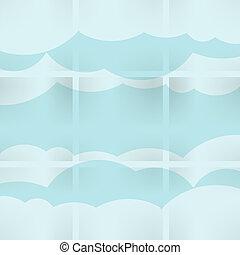 抽象的, スピーチ, 泡, 中に, ∥, 形, の, 雲, 使われた, 中に, a, 社会, ネットワーク, 上に, 淡いブルーの 背景