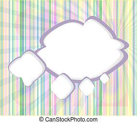 抽象的, スピーチ, 泡, 中に, ∥, 形, の, 雲, 使われた, 中に, a, 社会, ネットワーク, 上に, 淡いブルー, バックグラウンド。, 雲, 計算, 概念