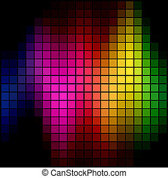 抽象的, スポット, スペクトル, バックグラウンド。, 多色刷り, モザイク