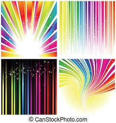 抽象的, セット, の, 虹, 色, ストライプ, 背景