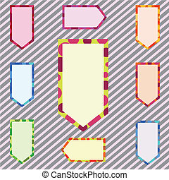 抽象的, セット, 旗, corlorful, イラスト