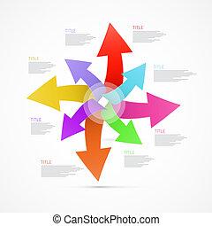 抽象的, セット, 矢, カラフルである