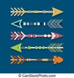 抽象的, セット, 矢, 種族, カラフルである