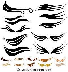 抽象的, セット, 翼, 波