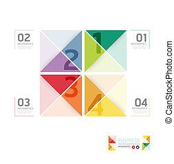 抽象的, テンプレート, 番号を付けられる, 使われた, ライン, infographics, デザイン, /, ベクトル, ウェブサイト, 切抜き, 旗, infographic, 横, グラフィック, 最小である, スタイル, ありなさい, レイアウト, ∥あるいは∥, 缶