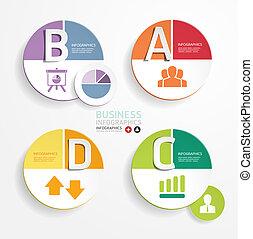 抽象的, テンプレート, 番号を付けられる, 使われた, 円, ライン, infographics, デザイン, /, ...