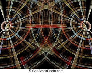 抽象的, デジタルによって 発生させる イメージ, の, 2, 交差, textured, ディスク