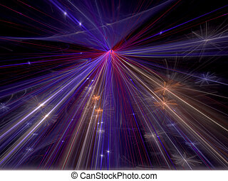 抽象的, デジタルによって 発生させる イメージ, 星, 光線, 背景