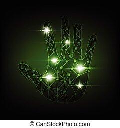 抽象的, デジタル, 手, 技術
