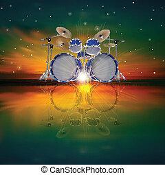 抽象的, ドラム, 背景, キット