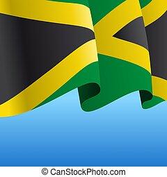 抽象的, バックグラウンド。, ジャマイカのフラグ, 波状, illustration., ベクトル