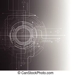 抽象的, バックグラウンド。, ベクトル, 技術, style., 未来派