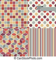 抽象的, パターン,  seamless, レトロ, 背景, 流行, 幾何学的