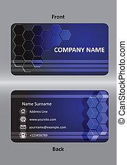抽象的, ビジネス青, カード, テンプレート