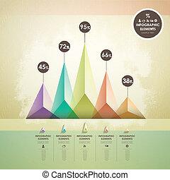 抽象的, ピラミッド, チャート, infographics