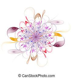 抽象的, フラクタル, 美しい, 花, コンピュータによって生成された, image.